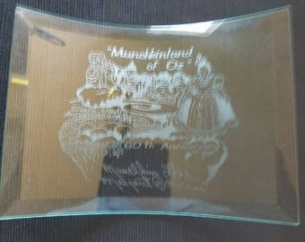 Etched glass tabletop ornament