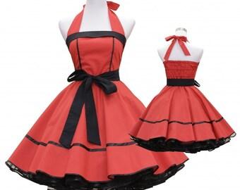 50's vintage dress full skirt black red classic design custom made Retro
