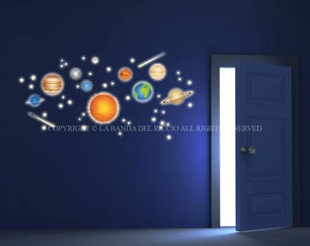Planets, Solar System, Space Wall Decals Fluo Wall Stickers Fluo Kids Nursery Fluorescent