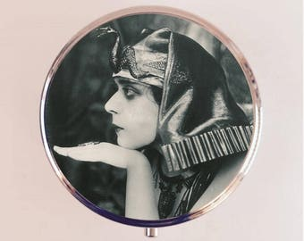 Cleopatra Theda Bara Pill Box Case Pillbox Holder Trinket Stash Box Art Deco Egyptian Vamp Silent Film