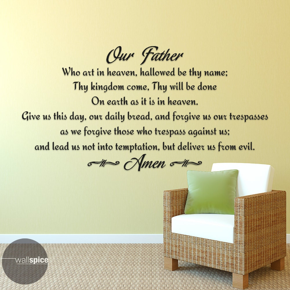 Our Father Lords Prayer Vinyl Wall Decal Sticker Religious God