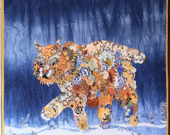 MarveLes PAPER PATTERN for a Quilt of a Montana BOBCAT Collage Style Floral Blue Gold Glacier Park Wildlife