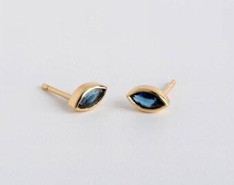 Blue Sapphire Earrings 18k Gold Earrings, Saphire Marquise Earring, Small Sapphire Stud Earrings, Dainty Stud Earring Blue Gemstone Marquise