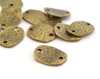 5 hammered metal oval connectors bronze 20 x 16 mm