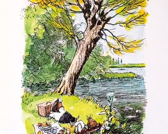 Wind In The Willows / Book Illustration / 1979 / By E H Shepard / Original Book Page / Interior Art / Wall Art / Home Decor / Nursery Art