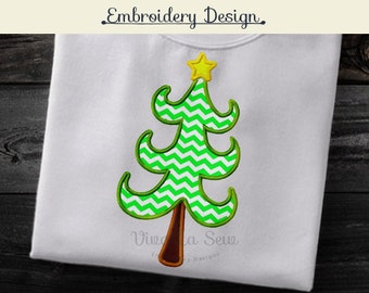 Instant Download Christmas Tree Holiday Appliqué Embroidery Design