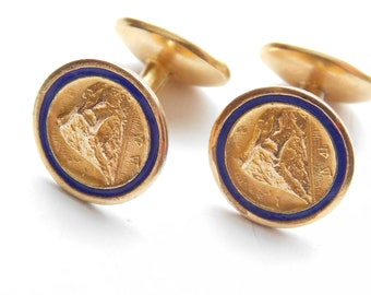 On Hold.Edwardian - Art Deco Rock of Gibraltar Souvenir or Prudential Insurance Gold Fill Plate Service Award Cuff Links Blue Enamel Antique