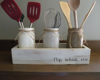 Kitchen Utensil Holder,Mason jar utensil holder, kitchen organizer, mason jar kitchen storage