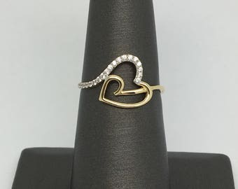 14K Yellow Gold CZ Heart Ring