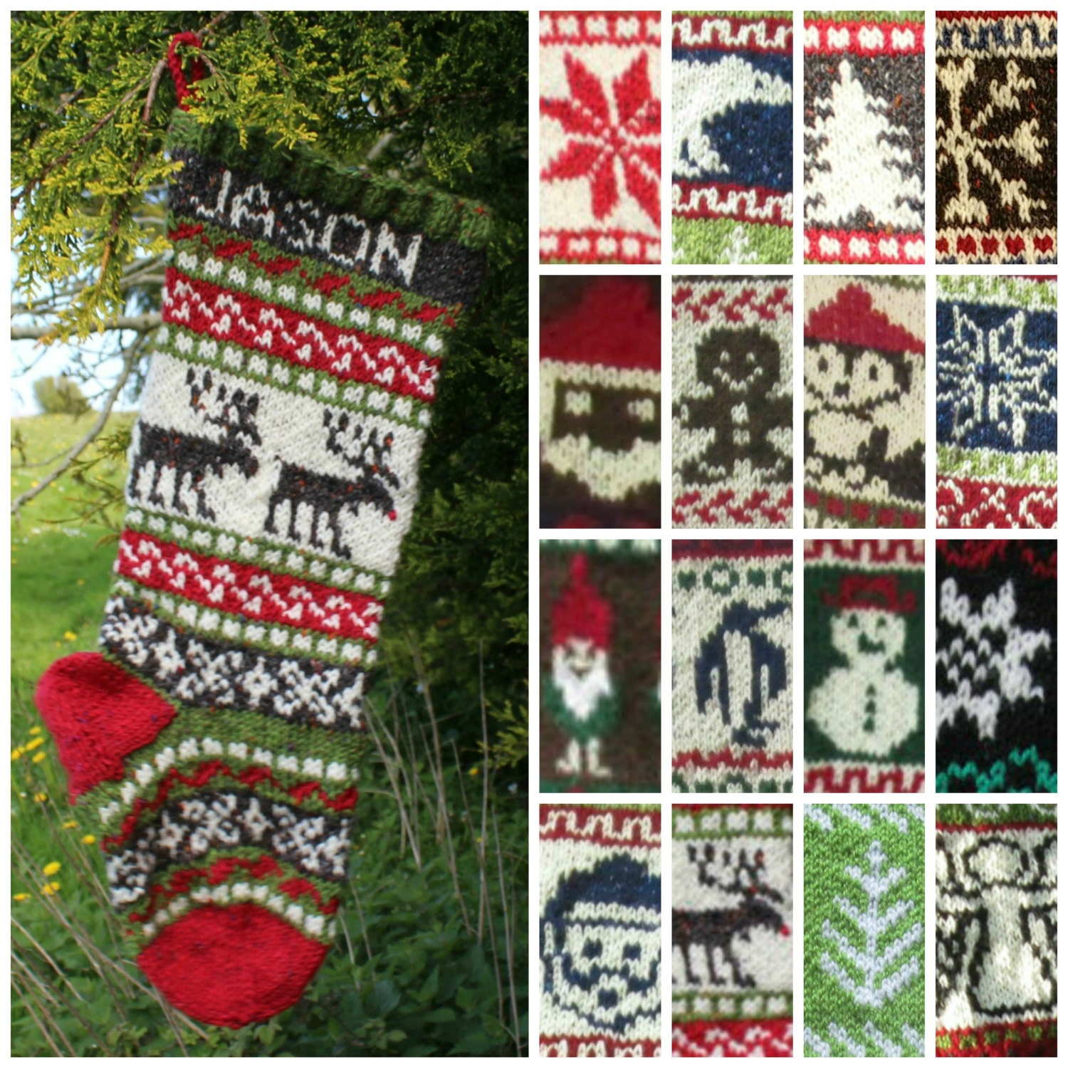 Knitting Pattern Collection of 16 Christmas Stockings Charts