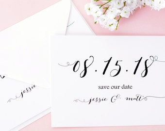 """Vintage Script - Save The Date Cards - 5"""" x 7"""" Wedding Announcement Cards - Save The Dates - Personalized Save the Dates - Photo Cards"""