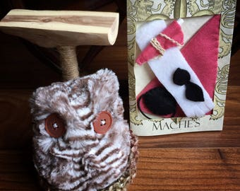 Owl Stuffed Animal with nest, perch and pink accessories - Button Eyes - Dress up Toy - Owl Gifts