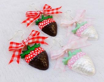 Hand-painted Chocolate Dipped Strawberry Earrings - Hypoallergenic Kawaii Larme Kei Earrings -Miniature Food-Strawberry Gingham Bow Earrings