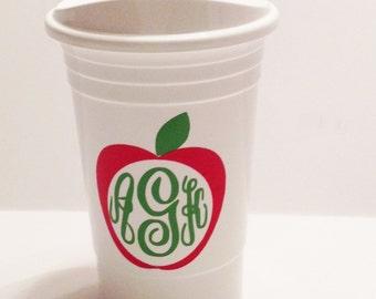 Teachers Personalized Insulated LeCup Personalized Apple Monogram Teachers Cup Teachers Gift Teachers Appreciation Present