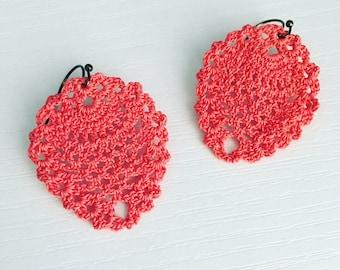 Sheridan Crochet Earrings in Coral, Lace Doily Earrings, Fiber Art Jewelry, Gift Under 30, Teen Gift, Dangle Earrings, Beach Fashion, Summer