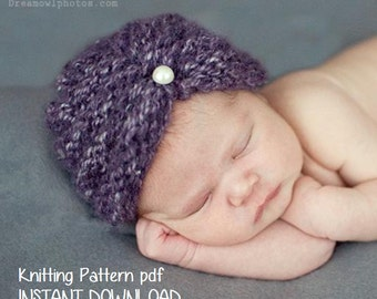 Purl Ridge Baby Turban Hat Knitting Pattern PDF 118, INSTANT DOWNLOAD -- Permission to sell hats --  Over 35,000 patterns sold -- Very Easy