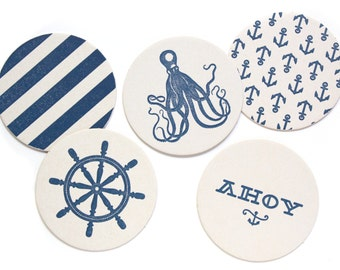 Letterpress Coaster Set | Nautical | Set of 10