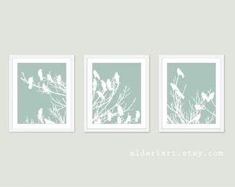 Birds on Tree Art Print Set - Wall Art Triptych Trio - Seafoam Sage Green and White - Modern Home Decor - Woodland Spring Birds