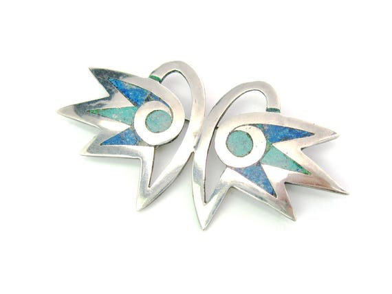 Los Castillo Sterling Silver Owl Brooch with Stone Inlay