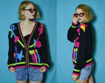 90s 80s bright neon green pink and black novelty sweater