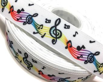 Musical Notes Ribbon, Music Ribbon, Music Notes Ribbon, Music Grosgrain Ribbon, Music Notes Grosgrain Ribbon