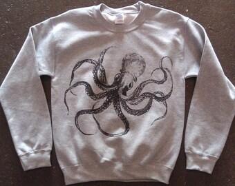 Kraken Octopus Sweatshirt Athletic Grey