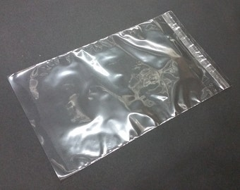 """100 Clear 1.6mil Polypropylene Resealable Cello Flat Plastic Bags with 1.5"""" Lip & Tape"""