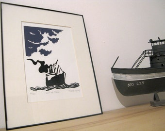"Linocut ""Gale"", Linoprint, Block print, Illustration, Ship in the sea"
