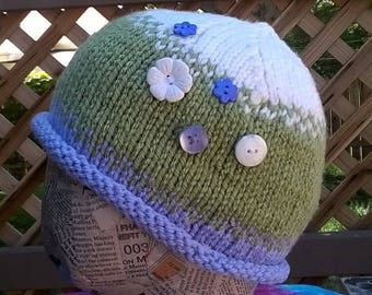 Adorable Hand Knit Toddler Cap Hat Toque Beanie Lavender Green and White Stocking Stuffer