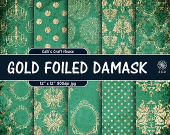 Green and Gold Foil Damask Digital Paper - green shabby chic - gold damask - vintage - wedding papers - Commercial Use - Instant Download
