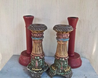 Vintage Wood Carved Painted Candle Holder Collection Vintage Home and Living Vintage Decor Vintage Candle Holders Instant Collection