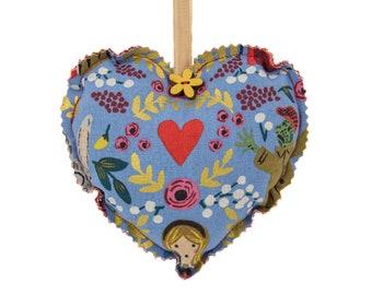 Alice in Wonderland Fabric Heart
