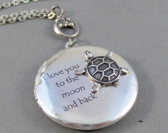 Turtle Love,Locket,Silver Locket,Turtle,Turtle Locket,Antique Locket,Antique,Woodland,Love You. Handmade jewelry by valleygirldesigns.
