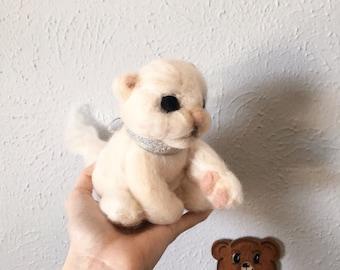 Needle Felted Kitten Soft Sculpture - Wool Roving Cat Fiber Art