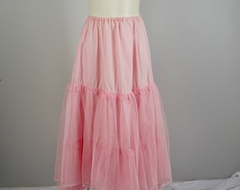 pale pink Laura Ashley crinoline slip Great Britain 80s vintage cotton and tulle small to medium extra long maxi petticoat