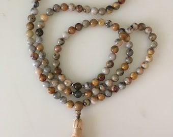 Agate and Labradorite Mala with Tassel / Mala 108 Beads / Prayer Beads / Meditation