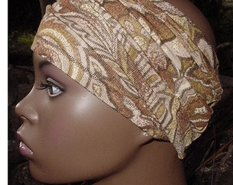 Headband-Tube-Dreadlocks-Locs-Natural Hair Accessories- Headwrap - Head Wrap - Brown-Tan Paisley