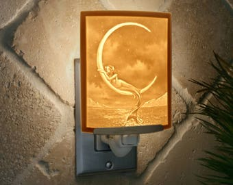 Mermaid and the Moon Porcelain Lithophane Night Light