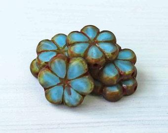 5 Czech Glass Beads 15mm Larger Flower Turquoise Tones - CB056