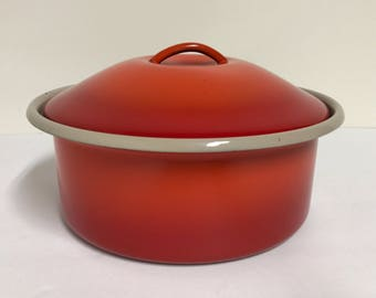 Vintage Orange Flame Enamel Pan/ Serving Bowl with Lid