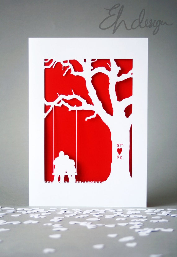 Personalised papercut anniversary card more colours like this item thecheapjerseys Image collections