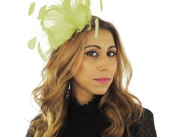 Four Loops Yellow Fascinator Hat for Weddings, Races, and Special Events With Headband