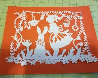 Alice in wonderland, Alice,  papercut, decoration, decor, wall art, paper art, wonderland, white rabbit, home decor