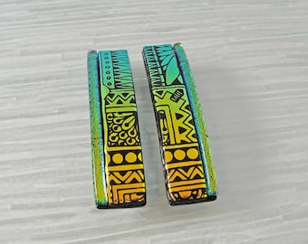 Set of 2 Small Dichroic Fused Glass Barrettes, Copper Gold Green Hair Clips, Hair Jewelry, French Barrette, Gifts Under 20 Dollars, Hair Tie