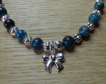 Chrysocolla and Sterling Silver Bracelet With Charm.  Chrysocolla Bracelet.