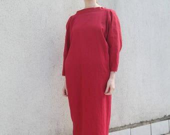 Red Linen Dress- Chic Dress Natural Linen- Handmade Linen Dress- Maxi Dress Linen