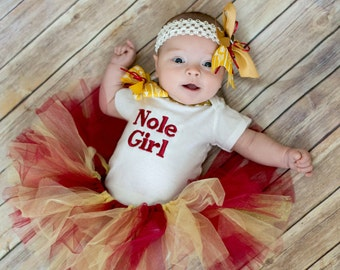 Florida State, Florida, FSU, Noles, baby girl clothing, Seminoles, Nole, tutu, Garnet, Gold, baby shower gift, new baby gift, personalized