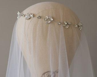 Wedding Headpiece, Bridal Headband, Wedding Halo, Crystal Bridal Hair Vine, Wedding Hair Piece, Wedding Headband, Boho Hairpiece- DINA