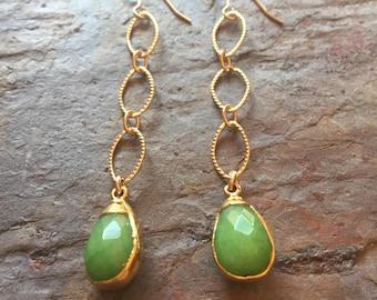 Gold dangle earrings with green jade quartzite drop pendants