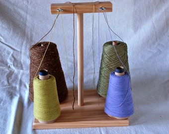 Wooden Yarn Warp Cone Spool Holder Guide Rack with 4 Spots for Weaving and Crafting